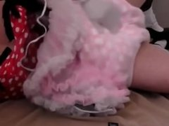diapered sissybaby in prett red dress triple diapered