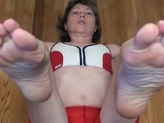 Granny in Hot Red Spandex- Mature Feet