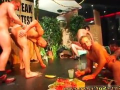Ladyboy group gay sex images and man playing with boob at party