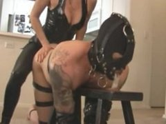 Mistress uses makes a slave cum and then fucks him