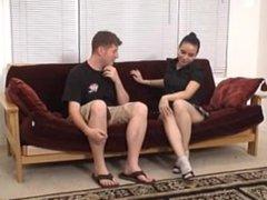 dominant girl makes stalker smell her stinky feet