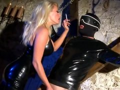 Mistress In Latex Suck And Fuck Male Slave