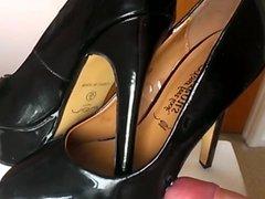 slow mo cum black patent platform pumps heels