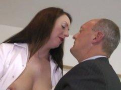 Classy milf in uniform getting pussy fingered