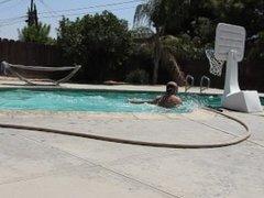 Skinny dipping and playing pool basketball.