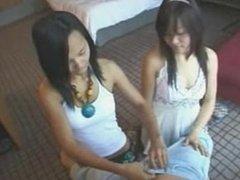 WMAF-Thai teens share a white foreigners cum with smiles. Thais love Farang