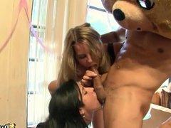 Horny girls give blowjob to Dancing Bear