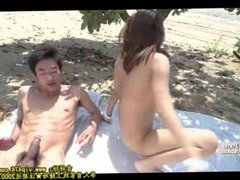 Japanese MMF threesome at beach