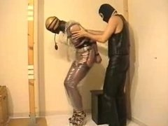 bondage with girl in plastic
