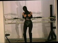 bondage with girl in rubber