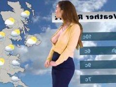 Katie's weather forecast, with no BRA underneath