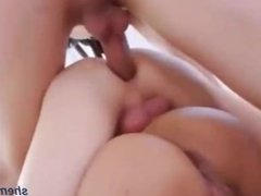 Thin teen shemale strokes her big cock