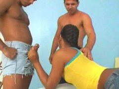 Petite Tgirl Creampied In Trio Screwing