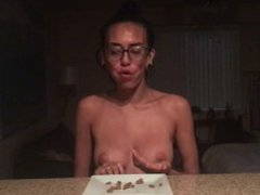 janice griffith eats a sloppy joe in 2 minutes while topless