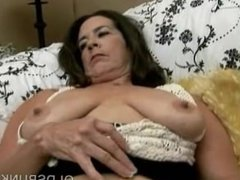 Naughty old spunker with nice big knockers loves to fuck her wet pussy