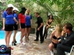 Katarina, Linda, Penelope, Sandra Mark having gangbang sex with their boss