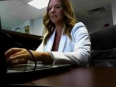 Busty Blonde flashing at office