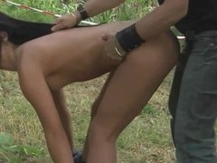 Hurt and humiliated slave endures outdoor brutal fuck submission