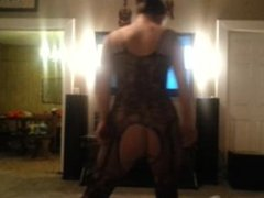 Drunk girl dancing in lingerie with exposed ass