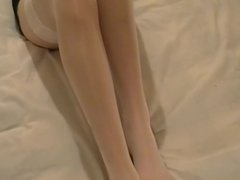 White stocking and foot play