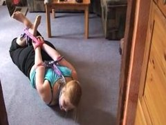 Chubby blonde hogtied in Nylons
