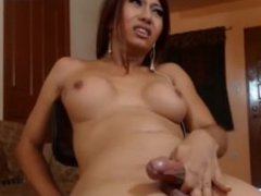 Latina Shemale strokes her cock for her fans