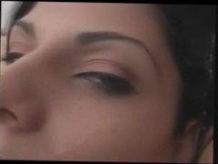 Brunette Ladyboy gets self facialized