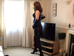 Alison playing in her new PVC Dress and gloves