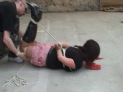 hogtied and ballgagged