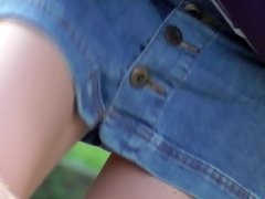 Upskirt no panties - blonde girl in miniskirt