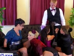Pissing glam euros sucking cock in group