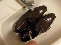 Piss in men's dress shoe