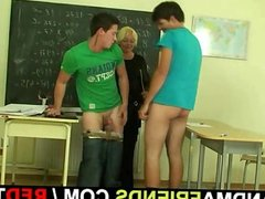 Mature teacher is pounded by two horny pupils