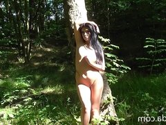 Babe nude in a wood near Leeds d2