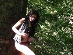 Babe nude in a wood near Leeds e1
