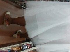Black bbw see thru white skirt