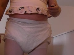 diapered sissybaby peeing pantyhose and double diaper