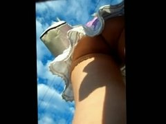 Upskirt video of bubbly ass in lacy thong PublicFlashing.me