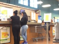 Phat Ass Latina in Jeans at counter