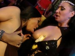 Tempting party babes dancing and getting fucked