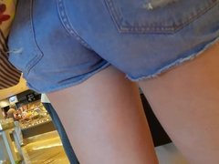 young mother's hot ass in tight shorts shopping
