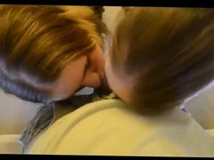 Two girls suck a cock and cum kiss each other
