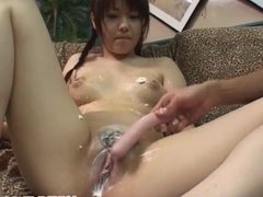 Mika Sonohara gets cream on hot jugs and cunt