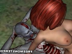 3D Redhead Fucked Outdoors by a Zombie