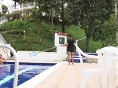 Santa Latina - Summer outdoors sex by the pool with hot blonde teen Latina