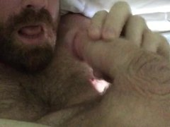 Daddy swallowing his own load