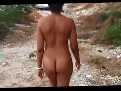 Twerking nude in public bubbly black booty