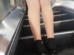 Tan Pantyhose Girls in Metro Compilation