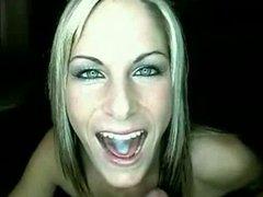 blonde takes oral cream pie