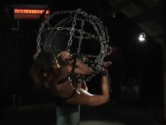 Punished under bondage cage slave is humiliated merciless ass whips fuck